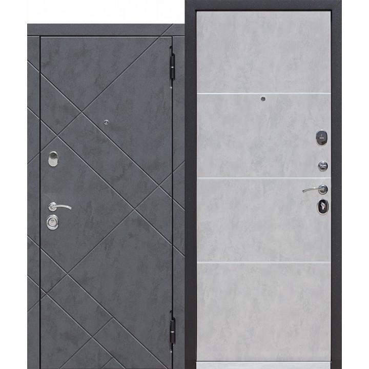 Входная металлическая дверь МДФ/МДФ 9 см БРУКЛИН Бетон пепельный