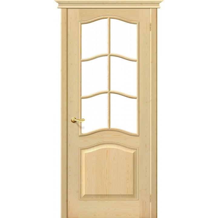 Дверь межкомнатная из массива сосны М7 без отделки остекленная в Белгороде