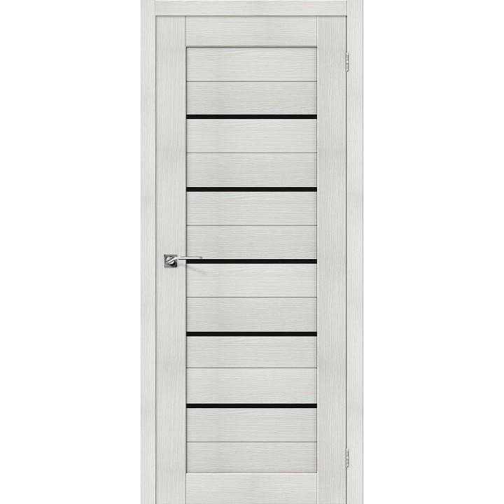 Межкомнатная дверь с покрытием эко шпон Порта-22 Bianco Veralinga стекло Black Star
