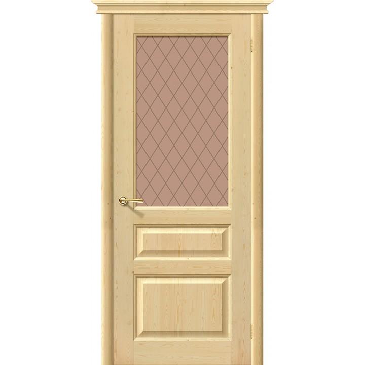 Дверь межкомнатная из массива сосны М5 без отделки остекленная в Белгороде