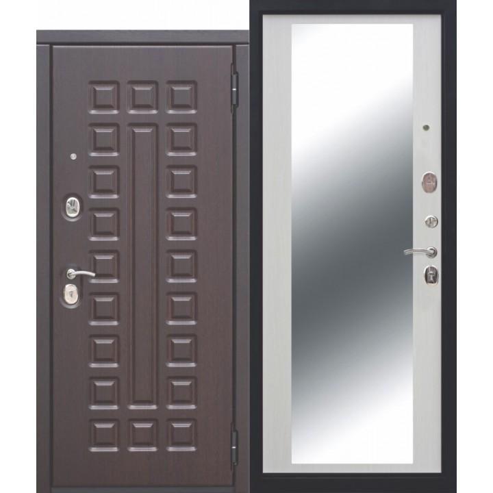 Входная металлическая 10 см МОНАРХ Зеркало Белый ясень