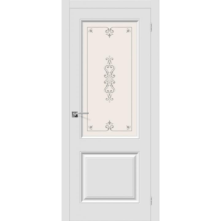 Дверь межкомнатная ПВХ Скинни-13 П-23 Белый остекленная в Белгороде