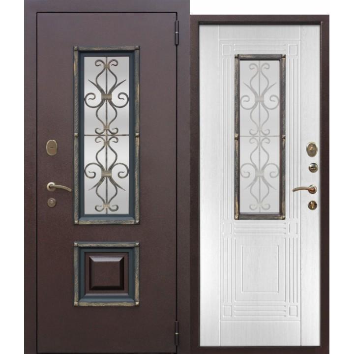 Входная металлическая дверь со стеклопакетом Венеция Белый ясень в Белгороде